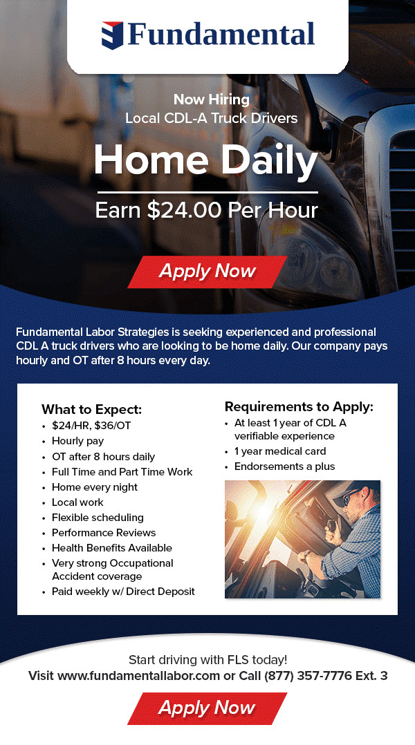 CDL A Truck Driving Position - Hourly Pay - transportation ...